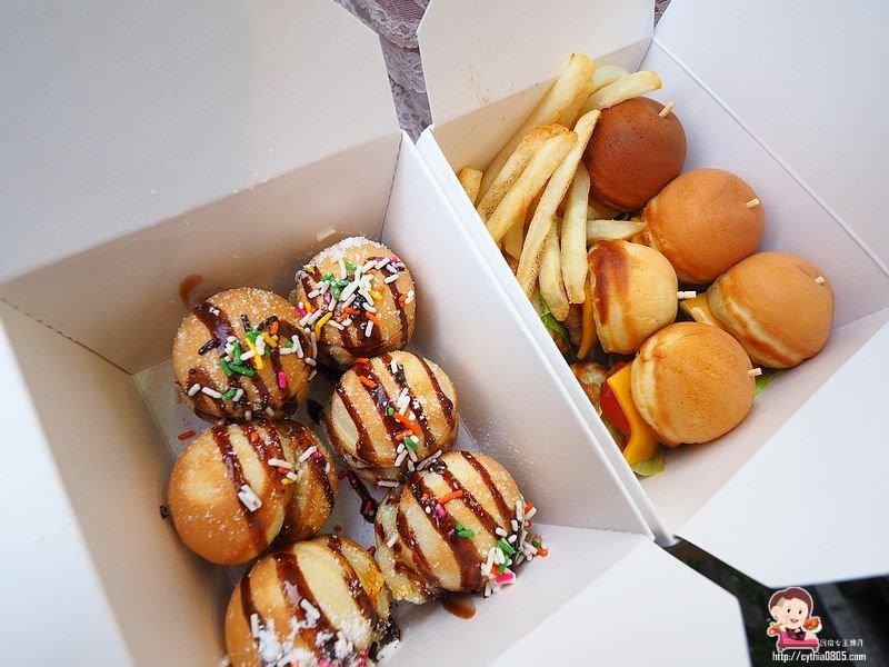 桃園中壢美食-mini burger 迷堡堡-中原夜市新寵兒,鬆餅小漢堡也太可愛了 @民宿女王芽月-美食.旅遊.全台趴趴走